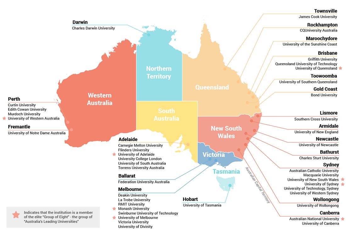 Các trường chia theo khu vực/thành phố tại Úc